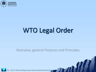 WTO Legal Order