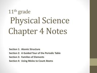 11 th  grade  Physical Science Chapter 4 Notes