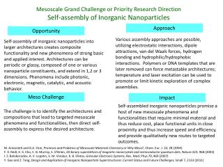 Mesoscale  Grand Challenge or Priority Research Direction Self-assembly of Inorganic Nanoparticles