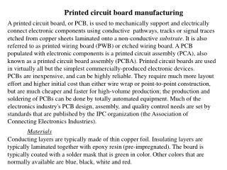 Printed circuit board manufacturing