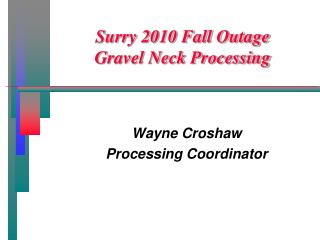 Surry 2010 Fall Outage  Gravel Neck Processing