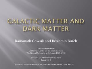 Galactic Matter and Dark Matter