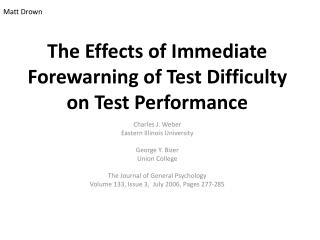 the effects of immediate forewarning of test difficulty on test performance