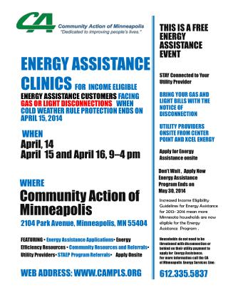 Energy Assistance Clinics  for  income eligible  Energy Assistance customers  facing Gas or Light disconnections    whe