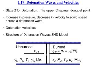 State 2 for Detonation:  The upper  Chapman- Jouguet point Increase in pressure, decrease in velocity to sonic speed ac
