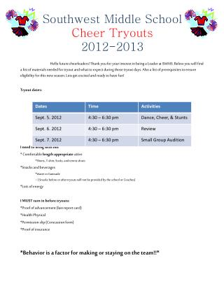 Southwest Middle School  Cheer Tryouts 2012-2013