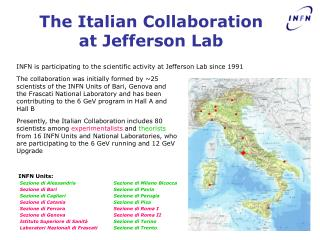 The Italian Collaboration at Jefferson Lab