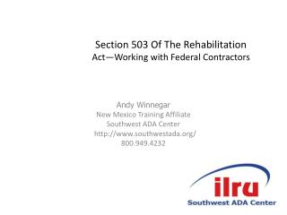 Section 503 Of The Rehabilitation Act—Working with Federal Contractors