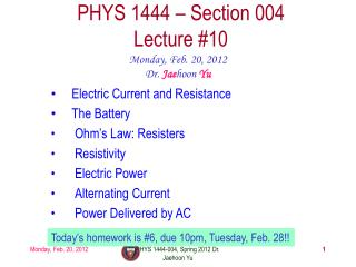 PHYS 1444 – Section  004 Lecture  #10
