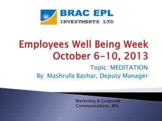 Employees Well Being Week October 6-10, 2013