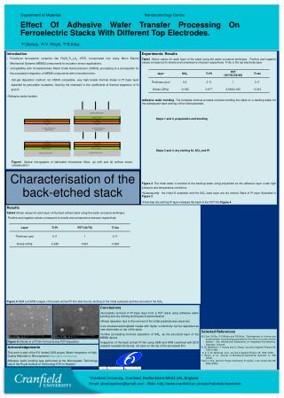 Characterisation of the back-etched stack