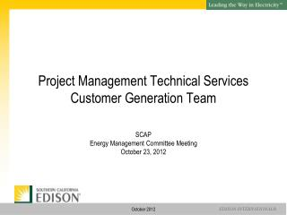 Project Management Technical Services Customer Generation Team