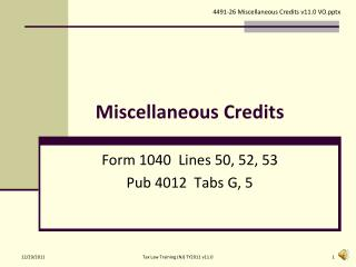 Miscellaneous Credits