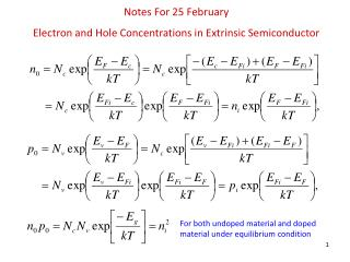 Notes For 25 February  Electron  and Hole Concentrations in Extrinsic Semiconductor
