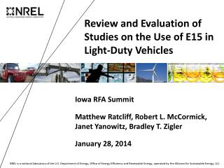 Review and Evaluation of Studies  on the Use of  E15  in  Light-Duty Vehicles