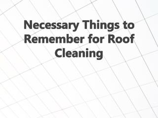 Necessary Things to Remember for Roof Cleaning