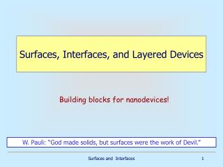 Surfaces, Interfaces, and Layered Devices