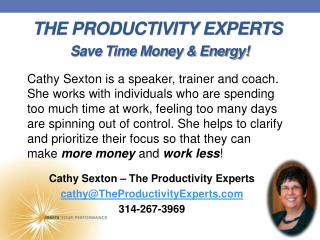 THE PRODUCTIVITY EXPERTS Save Time Money & Energy!