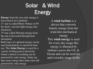 Solar   & Wind Energy