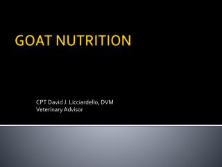 GOAT NUTRITION
