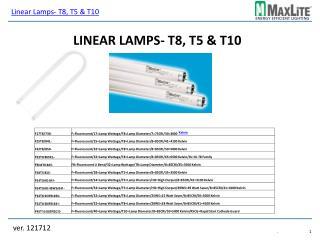 Linear Lamps- T8, T5 & T10