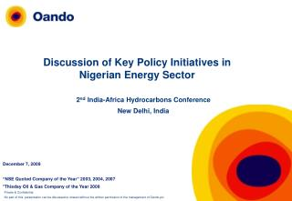 Discussion of Key Policy Initiatives in Nigerian Energy Sector