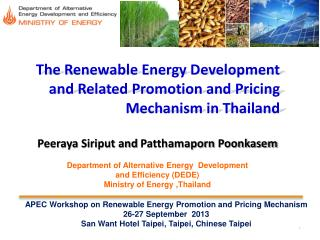 The Renewable Energy Development and Related Promotion and Pricing Mechanism in Thailand