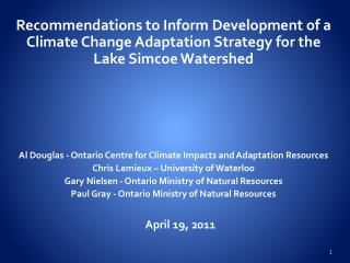 Recommendations to Inform Development of a Climate Change Adaptation Strategy for the Lake Simcoe Watershed