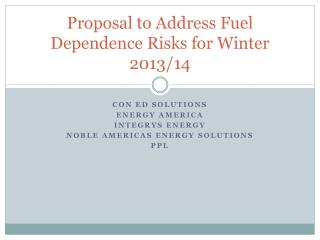Proposal to Address Fuel Dependence Risks for Winter 2013/14