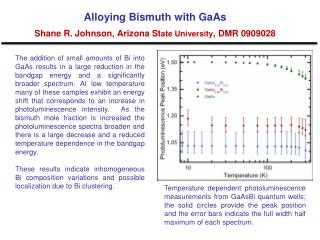 Alloying Bismuth with  GaAs Shane  R. Johnson, Arizona St ate University , DMR 0909028