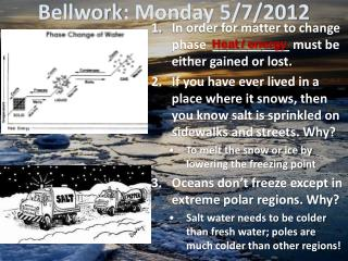 Bellwork : Monday 5/7/2012