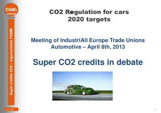 CO2  R e gulation  for cars  2020  targets