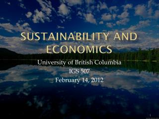 Sustainability and Economics