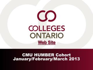 CMU  HUMBER  Cohort January/February/March 2013