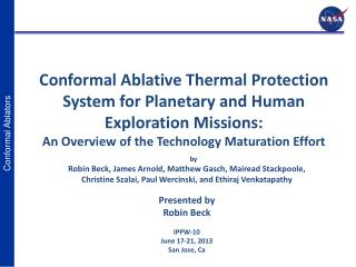 Conformal Ablative Thermal Protection System for Planetary and Human Exploration Missions: An Overview of the Technolog