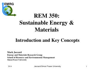 REM 350: Sustainable Energy &  Materials