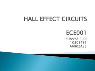 HALL EFFECT CIRCUITS ECE001