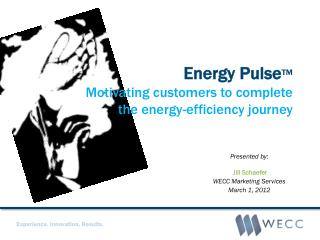 Energy  Pulse ™ Motivating  customers to complete  the  energy-efficiency journey