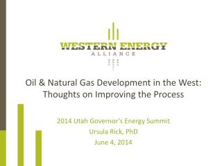 Oil & Natural Gas Development in the West:  Thoughts on Improving the Process