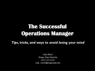 The Successful  Operations Manager