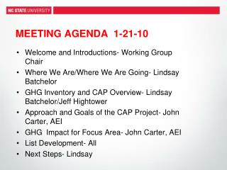 MEETING AGENDA   1-21-10