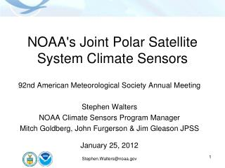 NOAA's Joint Polar Satellite System Climate Sensors