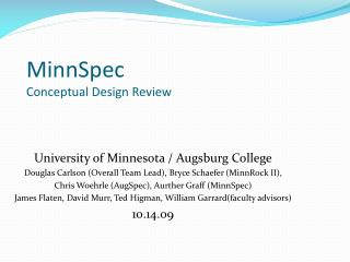 MinnSpec Conceptual Design Review