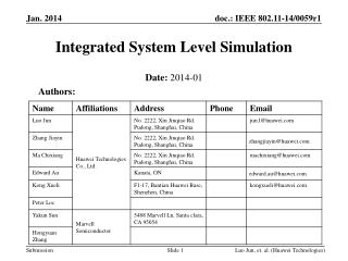 Integrated System Level Simulation