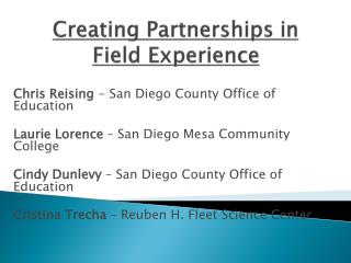 Creating Partnerships in Field Experience