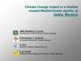 climate change impact in a shallow coastal mediterranean aquifer, at sa dia, morocco