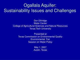 ogallala aquifer:  sustainability issues and challenges