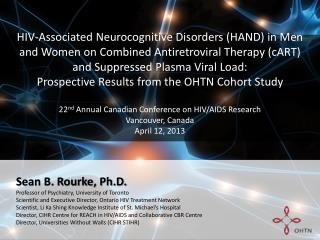 HIV -Associated  Neurocognitive Disorders (HAND) in  Men  and  Women  on C ombined  A ntiretroviral  T herapy (cART) an