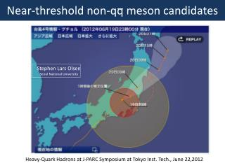 Near-threshold  non- qq  meson candidates