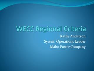 WECC Regional Criteria